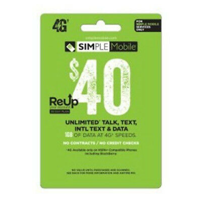 $40 Simple Mobile Retail Prepaid Refill Airtime Card Fast Top Up to Phone #