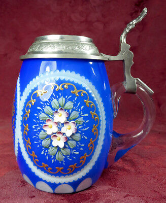 Stunning Vintage W. German Cut glass, cobalt blue and gold, pewter lidded stein