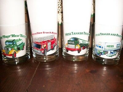 1996 - Hess Toy Truck Collector Series Glasses Complete Set of (4) Beautiful