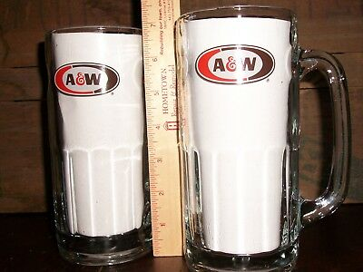 """Pair of A & W Root Beer Heavy Glass Bottom MUGS / STEINS - 7"""" Tall"""