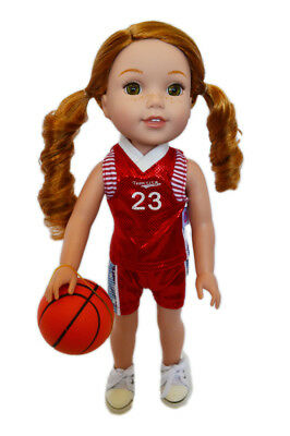 Red Basketball Outfit for Wellie Wisher Dolls