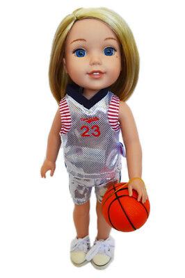 White Basketball Outfit with Accessories for Wellie Wisher Dolls