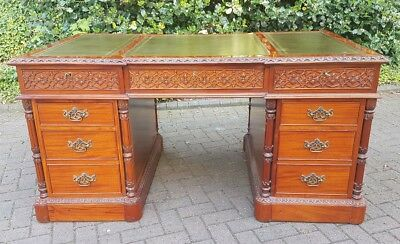 Large Carved Antique Style Mahogany Twin Pedestal Partners Leather Writing Desk