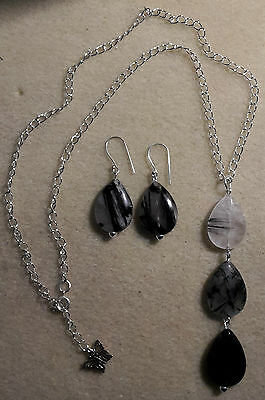Genuine lucky rutile quartz gemstone necklace & earring set - 925 silver plated