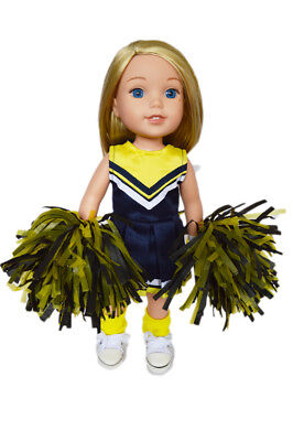 Navy and Yellow Cheerleading Outfit for Wellie Wisher Dolls