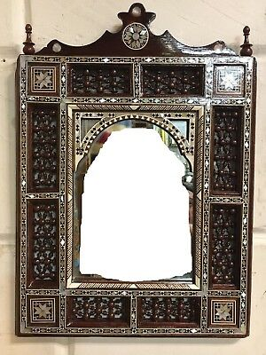 """Wall Mounted Mirror, Curving Wood Inlay Mother of Pearl, Arabesque Work 18""""x9.2"""""""