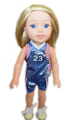 Blue Basketball Outfit with Accessories for Wellie Wisher Dolls
