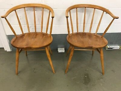 Ercol Windsor Oyster Cowhorn Chairs model 333a -Repolished