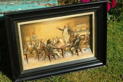 A Rare Antique Charles Dickens * Mr Pickwick * Large Framed 3D A. Osborne Plaque