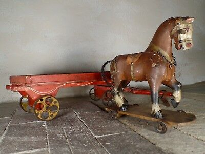 An Antique 19th Century Folk Hand Painted Carved Pull Horse Toy Display Decor