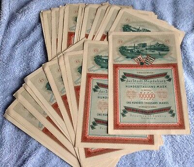 1923 8% Bearer Bond 100000 Marks Germany (Magdeburg) With Coupons