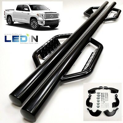 Side Dropped Step Nerf Bar For 07-18 Toyota Tundra CrewMax Extend Crew Cab Black