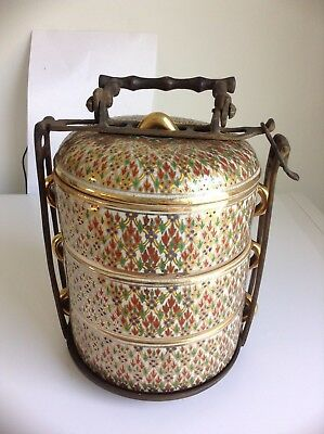 Thai antique ceramic benjarong hand painted tiffin or food carrier or lunch box