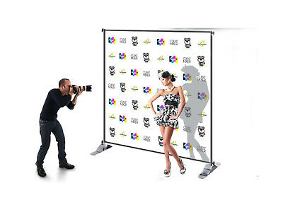 Step and Repeat Backdrop Banner 8'X 8' Stand Adjustable