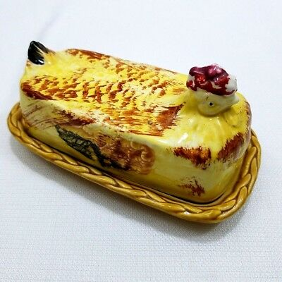 Vintage Rossini Chicken Hen Yellow Covered Butter Dish Japan