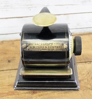 Antique Protectograph Check Writer Printer Model H Enamel Brass Industrial Works