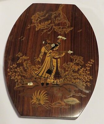 Vintage inlaid wood marquetry wall plaque traditional Indian Asian girl musician