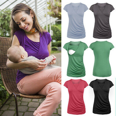 Womens Summer Pregnant Maternity Nursing Tops Clothes Breastfeeding Shirt Blouse