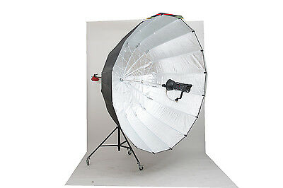 telescopic focusing parabolic 2.2m umbrella with boom silver professional studio