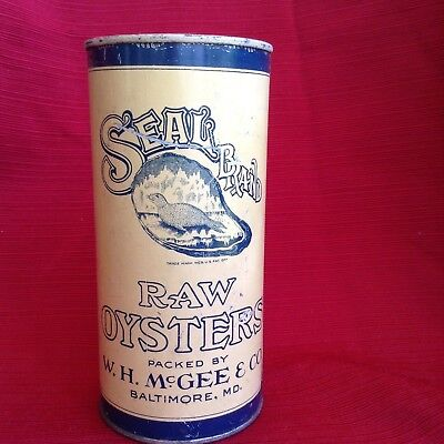 Old Seals's Brand Oyster tin, 1 qt, W. H. McGee, Baltimore, MD super shape
