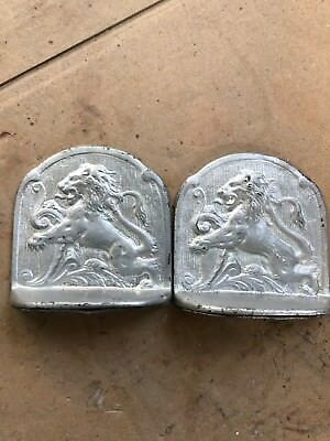 Antique/Vintage cast Iron silver Majestic Lions Bookends ornate high relief .