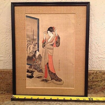 Antique/Vintage Japanese Woodblock Print - 11 1/2 x 14 1/2 Inches