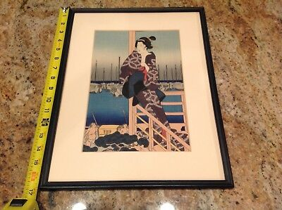 Antique/Vintage Japanese Woodblock Print - 12 1/2 x 16 1/2 Inches
