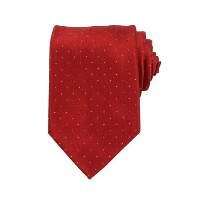 New BRIONI Red Dotted Silk Satin Woven Neck Tie
