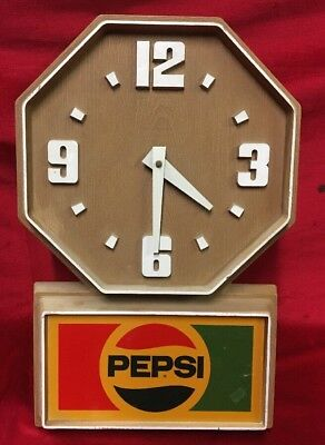 Vintage Pepsi Cola Plastic Advertising Clock