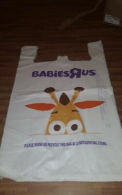 TOYS R US LARGE SHOPPING BAG GEOFFREY PICTURE Lot of 40 WHITE BAGS 20 x 10 x 30