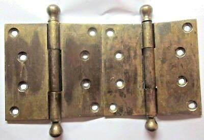 """Pair 2 Antique 3500 4"""" 3 Knuckle Hinges Ball Tips Solid Cast Brass Mortise Door"""