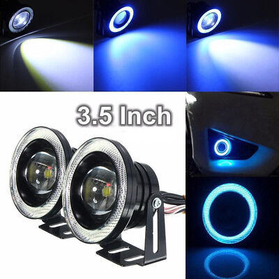 "Pair 3.5"" 50W COB Car LED Projector Angel Eye Light Ring Halo Fog Drive DRL Lamp"