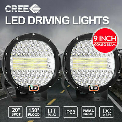 9 inch LED SPOT Driving Lights Round CREE Spotlights 12V 24V BLACK 99999W PAIR