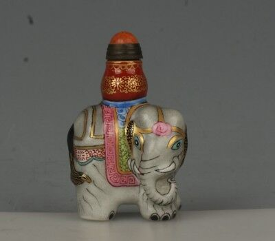 Chinese Exquisite Handmade Elephant porcelain snuff bottle
