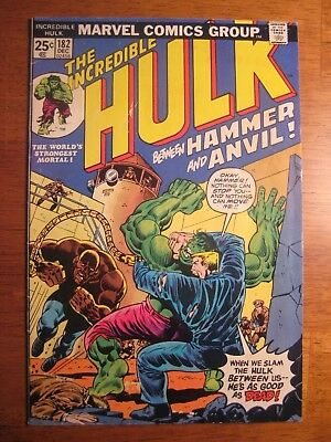 INCREDIBLE HULK #182 1974 (VF-) <---but ripples/prior moisture contact