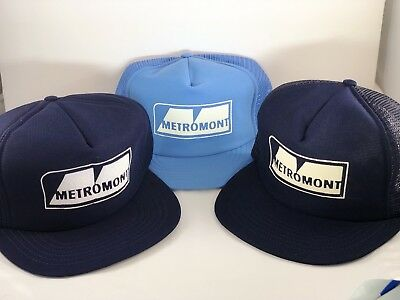 3 Lot Vintage Foam Mesh Trucker Caps Hats Snapback METROMONT CONCRETE GREENVILLE