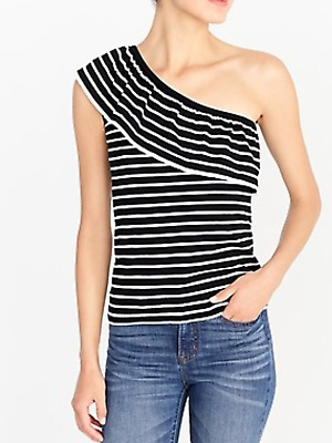 480177db115c7e J.Crew Factory Striped One-Shoulder Ruffle Sweater, NWT, Small Great Buy