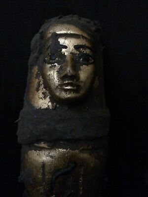 EGYPTIAN ANTIQUE ANCIENT EGYPT Shabti USHABTI STATUE Stone Water Gold 1630-BC