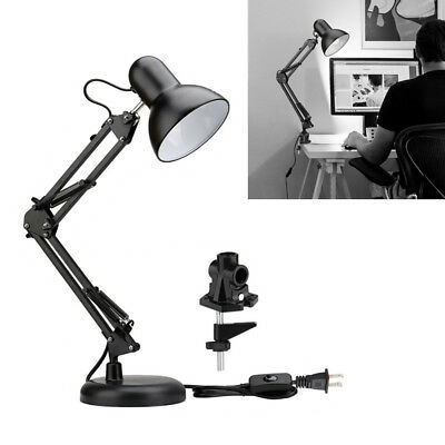 Metal Swing Arm Desk Lamp, Classic Architect Clip On Table Lamp, Black Painted