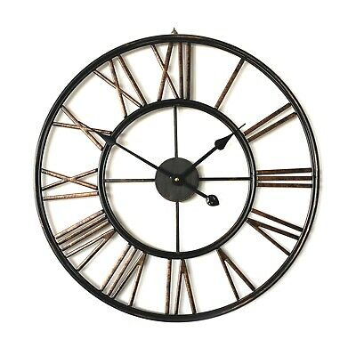 Large TRAFALGAR French Provincial Metal Wall Clock Bronze/Copper Roman Numerals