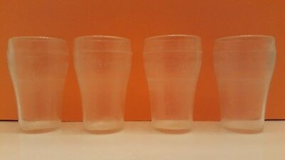 "Vintage Antique Set of 4 Miniature Toy Coca Cola Plastic Glasses Cup 2 1/4"" Tall"