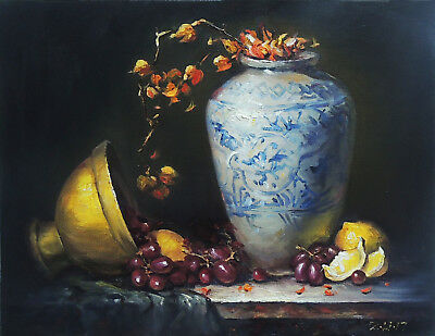 Original Oil Painting Still Life Realism Blue White Vase W Copper Pot Fruit