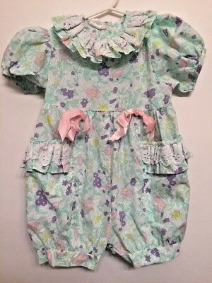 Vintage Girls Romper Flowers Ruffles Pink Bows Broadway Kids 3T Spring Summer