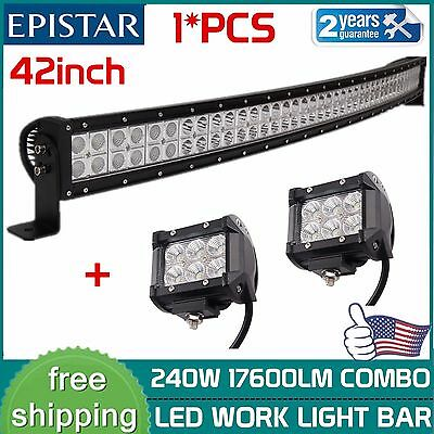 42inch 240W Curved LED Light Bar Spot Flood Offroad Driving Truck+2X18W 4'' PODS