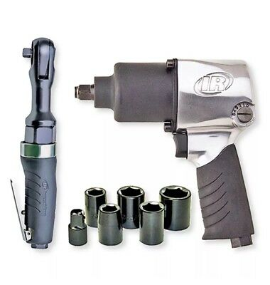 Ingersoll Rand 2317G Edge Series Air Impactool and Ratchet Combo Kit, Black