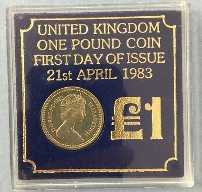 1983 £1 United Kingdom One Pound Coin First Day of Issue 21st April #SS611