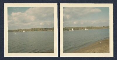 Sailboats in the Water Lot of (2) Vintage Square Photographs 1960's-70's