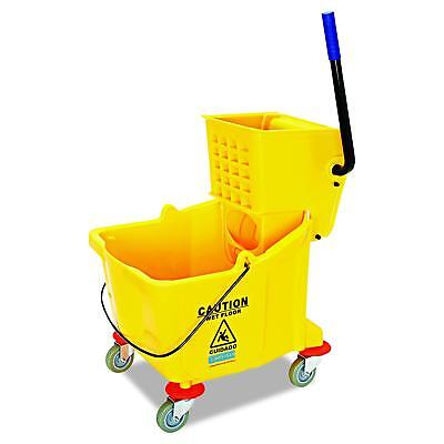 Carlisle 3690404 Commercial Mop Bucket With Side Press Wringer, 35 Quart Yellow