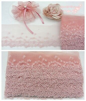 """2Y 4"""" Embroidered Floral Tulle Lace Trim~Peach Pink~Sweet Story~Sewing Craft~"""