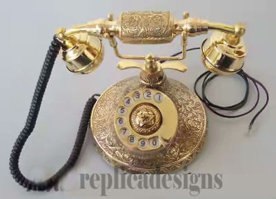 ''solid Brass Vintage French Victorian Style Rotary Dial Phone